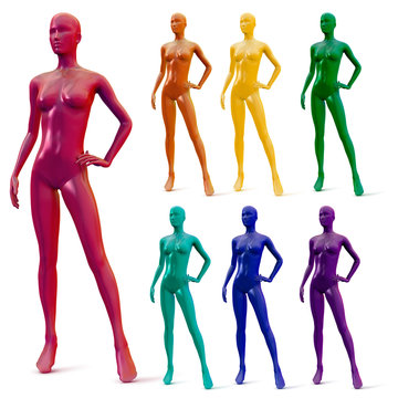 Set female mannequin  pink, orange, yellow, blue, turquoise, purple colors isolated on white background. Vector illustration.