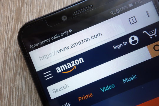 KONSKIE, POLAND - JULY 21, 2018: Amazon company website displayed on a modern smartphone