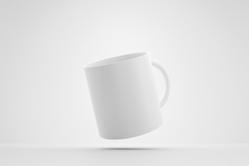 Classic white mug and front view levitation on white background with blank template mockup style. Empty cup or drink mug. 3D rendering.