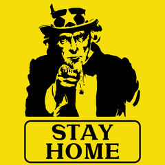 Uncle Sam figure on a yellow background with the words stay home. Coronavirus 2019-ncov Medical Concept.
