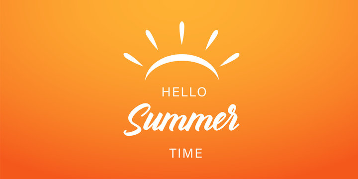 Summer time vector banner or poster on gradient yellow background. Vector illustration. Hello summer banner.