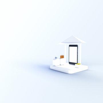 3D rendering mobile shoppinh online, market online.