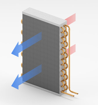 3D illustration of a cooling coil with air flow arrows