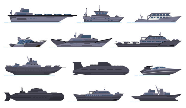 Military ships. Battle combat boats, missile ship, security boats, modern warships and submarine, army weapon battleships vector icons set. Military boat and ship, force vessel illustration