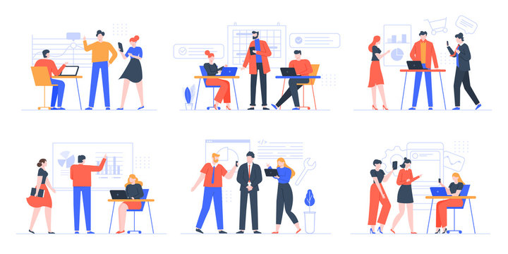 Coworking business team. People working together, creative teamwork in coworking space, office teamwork meeting vector illustration set. Creative teamwork, cooperation partnership brainstorming