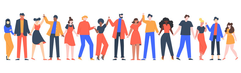 Group of smiling people. Team of young men and women holding hands, characters standing together, friendship, unity concept vector illustration. Group people woman and man standing Papier Peint