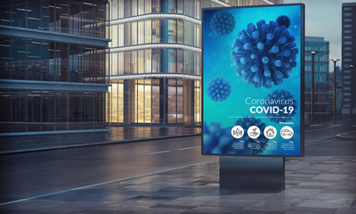 Advertising billboard covid-19  in city night