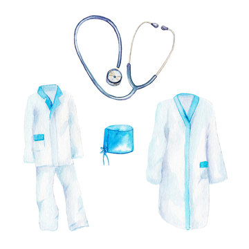 watercolor drawing - clothes of doctors, a medical suit and a bathrobe, phonendoscope