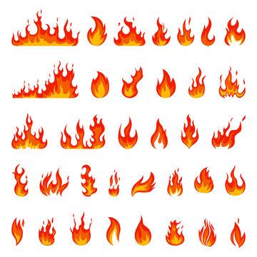 Cartoon flame. Fire fireball, red hot campfire, yellow heat wildfire and bonfire, burn power fiery silhouettes isolated vector illustration set. Fireball power light, flame bonfire energy