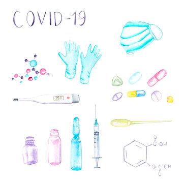 watercolor set - medical mask, gloves, molecule, formula, tablets, ampoule, syringe, dropper