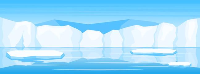 Spoed Fotobehang Blauw winter arctic ice landscape