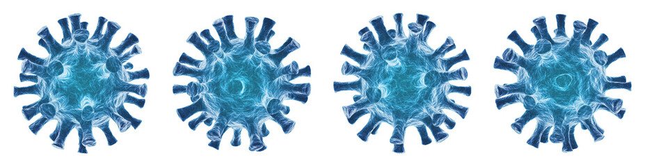Obraz Virus isolé sur fond blanc - Virologie et Microbiologie 3D - Coronavirus COVID-19 concept - fototapety do salonu