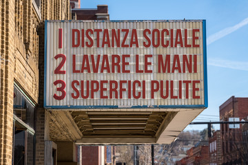 Door stickers Wall Decor With Your Own Photos Italian movie cinema billboard with three rules to avoid the coronavirus epidemic. Translation, wash hands, maintain social distance, clean surfaces