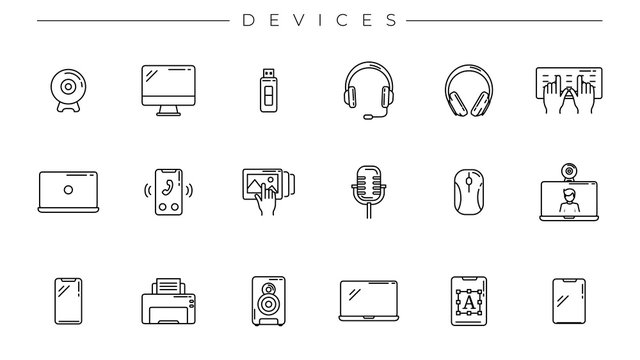 Devices concept line style vector icons set