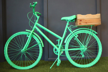 Printed kitchen splashbacks Bicycle vintage bicycle teal painted for office decoration