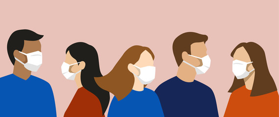 Group of simple flat design people with face masks, protection from disease or pollution Wall mural