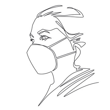 One line drawing of woman wearing disposable medical face mask to protect against high air toxic pollution city. Stop the spread of viruses, help prevent hand-to-mouth transmissions. Vector