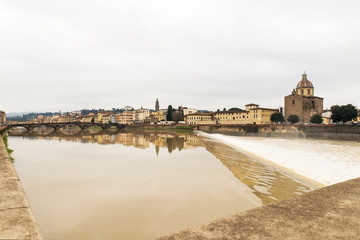 Deurstickers Noord Europa Beautiful Sights of Ponte Vecchio Bridge and Arno River in Florence, Italy.