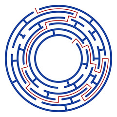Labyrinth game for kids. Isolated round maze with solution. Education for preschool or school children.