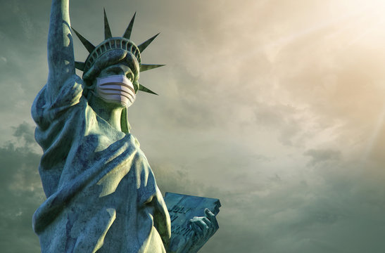 Coronavirus in the United States. 3D Statue of Liberty in medical mask. Pathogen coronavirus flu covid-19 outbrake in United States of America, corona virus pandemic US quarantine background concept