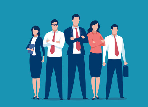 Successful team of five people. Business vector illustration.
