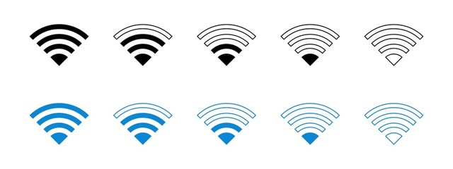 Wi Fi Signal Strength  Flat Icon Set Editable Vector Eps Isolated on White Fototapete