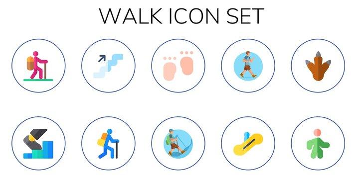 walk icon set