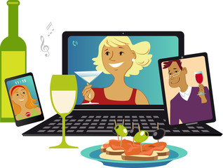 Online party with friends communicating via video chat from different gadgets, EPS 8 vector illustration