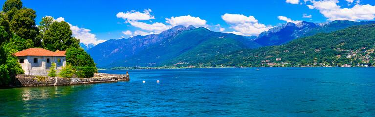 Idyllic nature scenery - beautiful lake Lago Maggiore in northern Italy, Lombardia