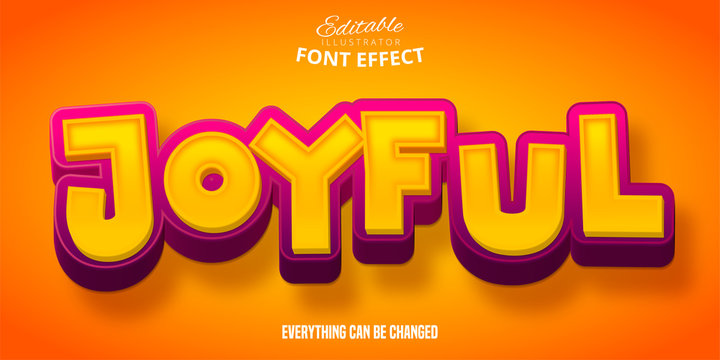Joyful text, 3d editable font effect
