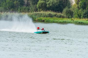 Garden Poster Water Motor sports Motor speed boat on racing
