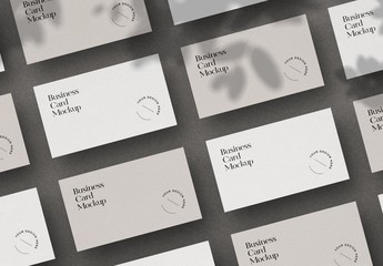 White Minimal Business Card Mockup Scene
