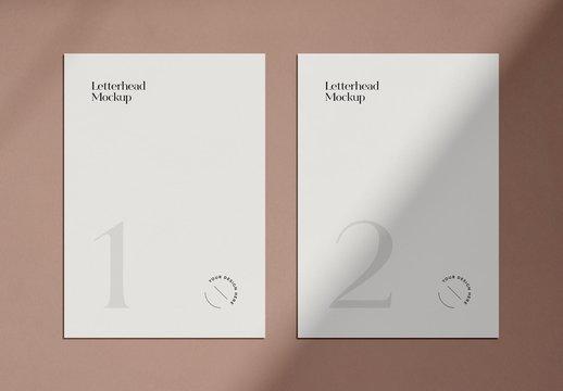 Minimal Letterheads Print Mockup with Shadow Overlay