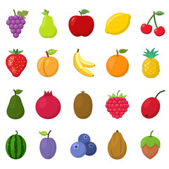 Fruits Vector Icons Set