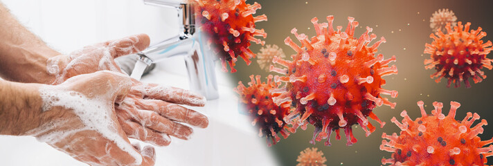 Fotorolgordijn Londen Washing hands man rinsing soap with running water at sink, Coronavirus 2019-ncov prevention hand hygiene. Corona Virus pandemic protection by cleaning hands frequently.