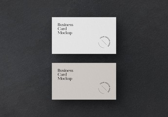 Two Minimal Business Cards Mockups on Dark Background