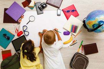 Covid-19 Coronavirus and Learning from home, Home school kid concept. Little children study from...