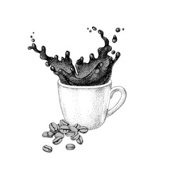 Splash in a cup of coffee