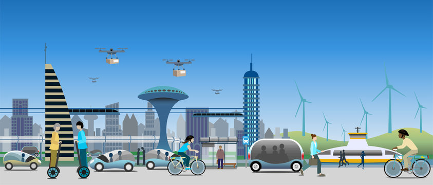 Near future view of sustainable city transports. Driverless vehicles and drones for light deliveries. Electified ferry, bicycles, monorail trains, self balancing transporters. Vector Illustration.