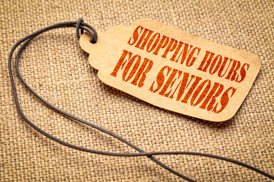 shopping hours for seniors - text on a price tag