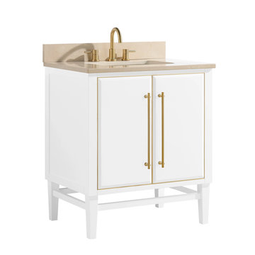 White Classic Wooden Bathroom Vanity Isolated on White Background. Luxury Contemporary Vanity Cabinet with Ceramic Countertop Sink and Gold Faucet. Art Deco Bathroom Furniture. Bathroom Essentials Set
