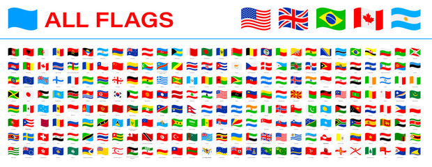 All World Flags - Vector Waving Flat Icons. 2020 versions of flags Fotomurales
