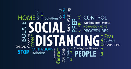 Social Distancing Word Cloud on a Blue Background
