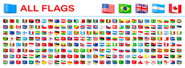 All World Flags - Vector Tag Label Flat Icons. 2020 versions of flags Fotomurales