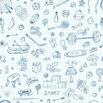 Sports. Seamless pattern of sports equipment. Hand Drawn Doodles Vector illustration.