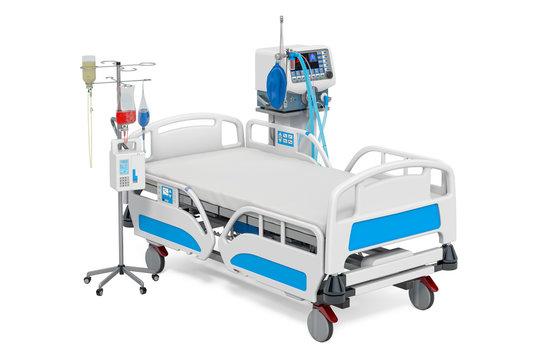 Intensive care unit, ICU. Medical ventilator, adjustable hospital bed and dropper. 3D rendering