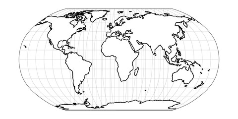 Wall Mural - World Map in Robinson Projection with meridians and parallels grid. Americas centered. White land with black outline. Vector illustration