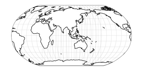 Wall Mural - World Map in Robinson Projection with meridians and parallels grid. Asia and Australia centered. White land with black outline. Vector illustration