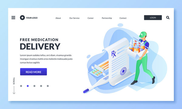 Home delivery service of drugs, prescription medicines. Vector illustration. Online pharmacy, drugstore banner design