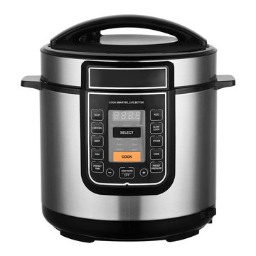 Dual-Operation Pressure Cooker Isolated on White. Slow Cooker in Stainless Steel with 6L Non-Stick Aluminium Pot and 8 Cooking Programs. Small Domestic & Kitchen Appliances. 4-Digital LED Display